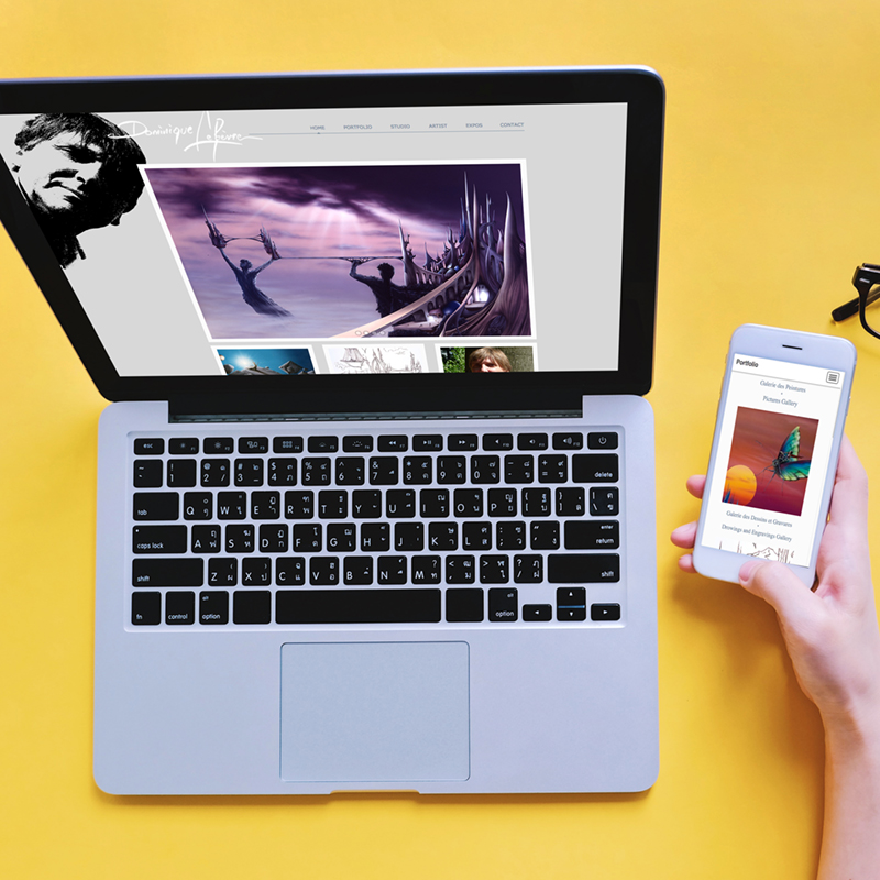 Flat lay of workspace desk, woman hand using smartphone with laptop and blank notebook, business and technology concept