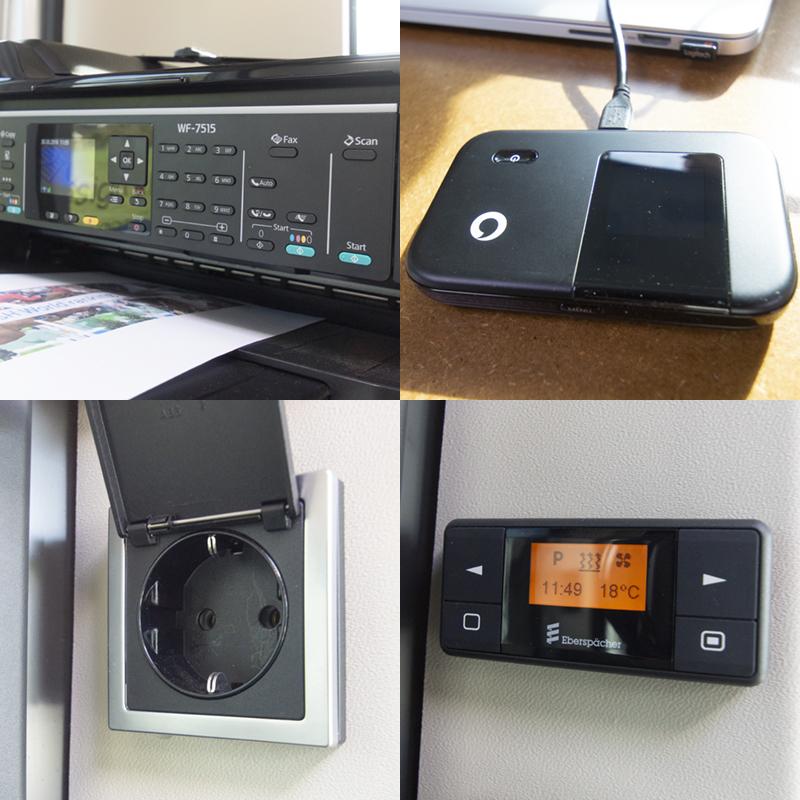 Imprimante, connexion internet, électricité et chauffage.